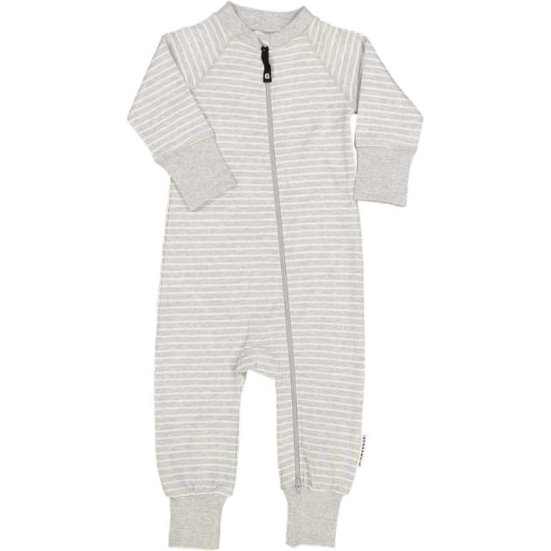 Two way zip -Pyjamas Classic Light grey stripe 74/80