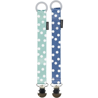 Pacifier holder 2-pack Navy dot One Size
