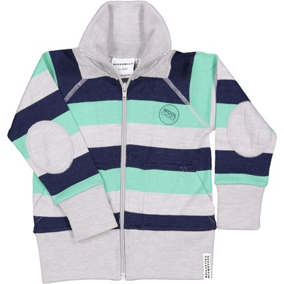 Wool zip jacket Green stripe