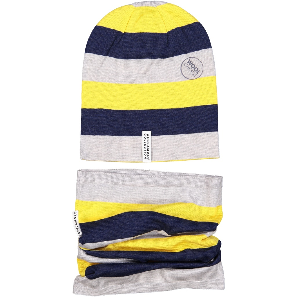 Wool cap Yellow stripe M 5-6 Year