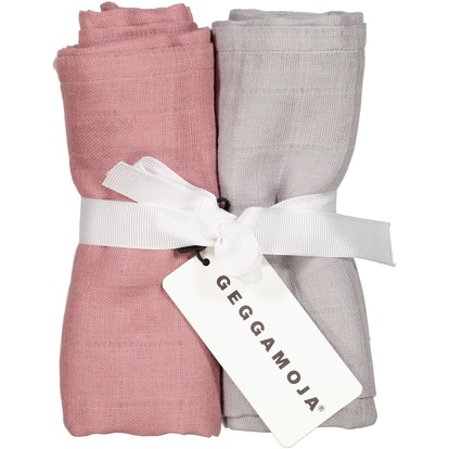 2-pack Muslin blankets Dust pink/grey