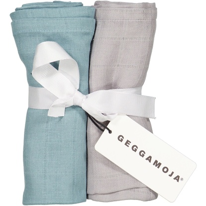 2-pack Muslin blankets Dark mint/grey