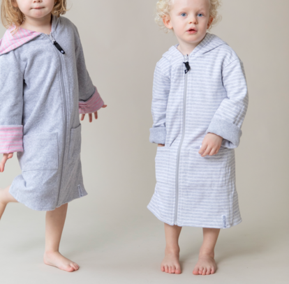 Bathrobe Classic Light grey stripe