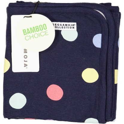 Bamboo baby blanket Navy multi dots
