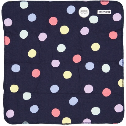 Bamboo cuddly blanket Navy multi dots