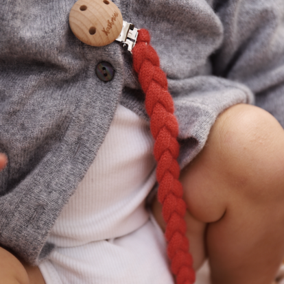 Pacifier clip coral
